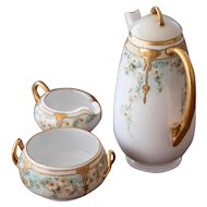 Early 1900s H C Royal Bavaria Coffee or Tea Set - Sweetheart Roses with Gold Accent - Stunning Porcelain Set