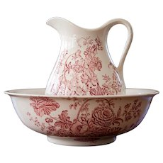 Ironstone Pitcher and Bowl - Pink Transferware - Crown Devon - Made in England