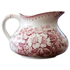 Early 1900 French Ironstone Pitcher with Pink Transferware - Luneville - Wild Rose