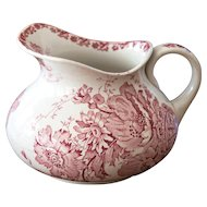 Early 1900 French Ironstone Pitcher with Pink Transferware - Saint Amand - Anemone Pattern