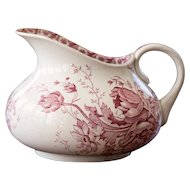 Early 1900 French Ironstone Pitcher with Pink Transferware - Anemone Pattern