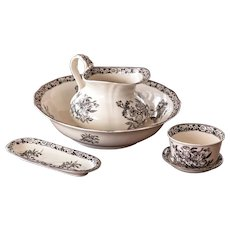 Late 1800s French Ironstone Pitcher and Bowl Bathroom Set - Black Transferware - Set of 5 Pieces - Choisy le Roi - Very rare