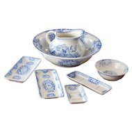Early 1900s French Ironstone Pitcher and Bowl Bathroom Set - Jardiniere - Blue Transfereware - Set of 7 Pieces - Sarreguemines