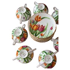 SAXE Charles Ahrenfeld & Co. Porcelain Austria Teacups or Dessert Cups with Saucers - Set of 10 - Hand painted Tulips - Pattern 4777