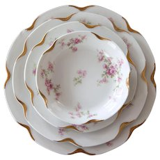 Haviland Limoges 40 Pieces Set - 10 Seatings - Schleiger 456 E with Pink Roses and Gold Trim
