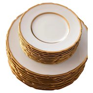 Lenox for Marshall Field China Plates - Set of 22 - Ivory Bone China with Gold Accent - Luxurious Plate Set