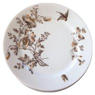 1800s Haviland Salad Plates - Brown Transferware with Hand Painted Accents - Set of 8 - Poppies, birds and butterflies