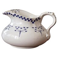 1920s French Ironstone Pitcher - Blue Transferware - Checker Pattern - Art Deco Design