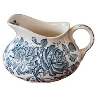 Early 1900s French Ironstone Pitcher with Blue Transferware - Rose Design - Longchamp