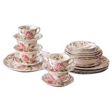1930s Rose Chintz Johnson Brother - 20 Pieces Set with Pink Back Stamp - Perfect for Replacement or Completing your Set