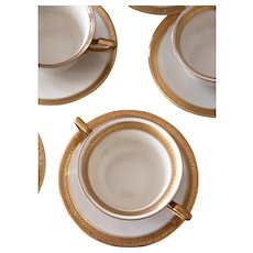 Vintage Rosenthal Tea or Coffee Cups and Saucers - Ivory and Gold - Set of 10 - Ovington Bros - Premier and Royal - Bavaria Fine Porcelain