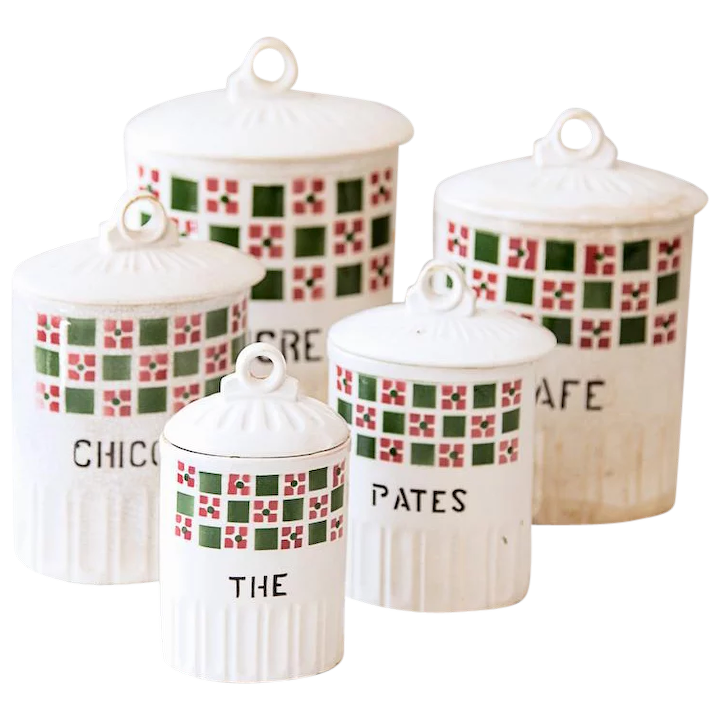 1930s French Kitchen Nesting Canisters - Set of 5 - Ironstone - Green and  Raspberry Checkered Pattern - French Country Kitchen