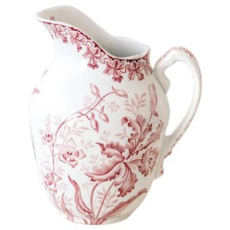Early 1900 French Ironstone Pitcher with Pink Transferware - Saint Amand - Orchid Pattern