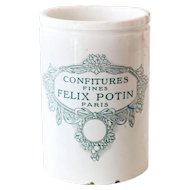 1920s French Stoneware Jam Pot - Felix Potin - Confitures Fines - Paris - Lunéville - Large Size