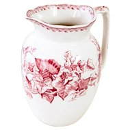 Early 1900 French Ironstone Pitcher with Pink Transferware - Ivy Pattern