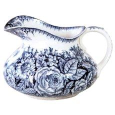 1800s French Ironstone Pitcher - Flow Blue - Pexonne - Fleurs Pattern