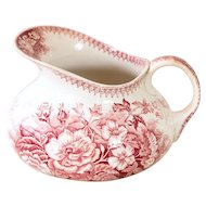 Early 1900s French Pink Ironstone Water Pitcher - Pink Transferware - Sarreguemines - Jardiniere - French Cottage Decor