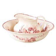 Early 1900s French Ironstone Pitcher and Bowl Bathroom Set - Nantais - Pink Transferware - H. Boulenger & Cie