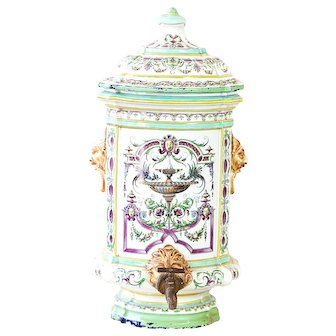 18th French Faience Fountain - Beautiful hand painted Colors - Rare beauty - Wall Mounted - Shabby Chic French Decor