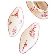 Early 1900s Ironstone Set - Gravy Boat and 2 Small Oval Dishes - Sarreguemines Favori - Red / Pink Transferware
