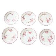 Early 1900s Ironstone Dessert Plates - Set of Six - Sarreguemines Favori - Red / Pink Transferware