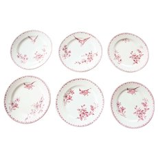 Early 1900s Ironstone Dessert Plates - Set of Six - Sarreguemines Favori - Red / Pink Transferware