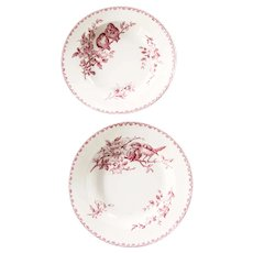 Early 1900s Ironstone XL Soup Bowls - Set of 2 - Sarreguemines Favori - Red / Pink Transferware