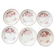 Early 1900s Ironstone Dinner Plates - Set of Six - Sarreguemines Favori - Pink / Red Transferware