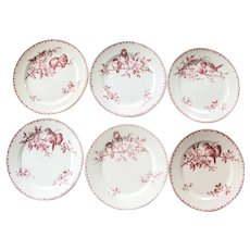 Early 1900s Ironstone Dinner Plates - Set of Six - Sarreguemines Favori - Pink / Red Transferware