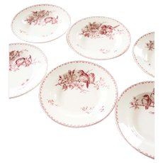 Ironstone Soup Plates / Bowl - Set of Six - Sarreguemines Favori - Red / Pink Transferware