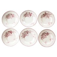 Ironstone Soup Plates / Bowl - Set of Six - Sarreguemines Favori - Red / Pink Transferware
