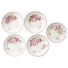 Early 1900s French Ironstone 5 Plates Set - Sarreguemines Favori - Red / Pink Transferware
