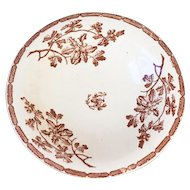 Late 1800s French Ironstone Cake Stand - Brown Transferware - Luneville