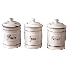 French Enamel Canisters - Set of 3 - Flour, Sugar, Chicory - Art Deco Period