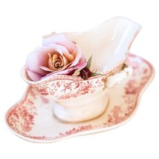 Late 1800s French Ironstone Sauce Boat - Pink Transferware - Gien Bouquet de Roses