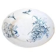 1930s French Ironstone Footed Fruit or Cake Plate - Turquoise Blue Transferware - Flowers and Dragonflies