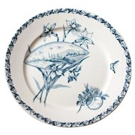 French vintage ironstone footed fruit or cake plate - Blue transferware Badonviller