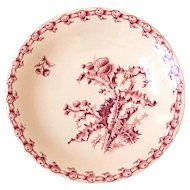 Early 1900s French Ironstone Cake Stand - Gien Chardons - Red / Pink Transferware