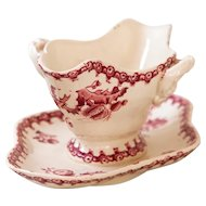 Early 1900s French Ironstone Sauce Boat - Gien Chardons - Red / Pink Transferware