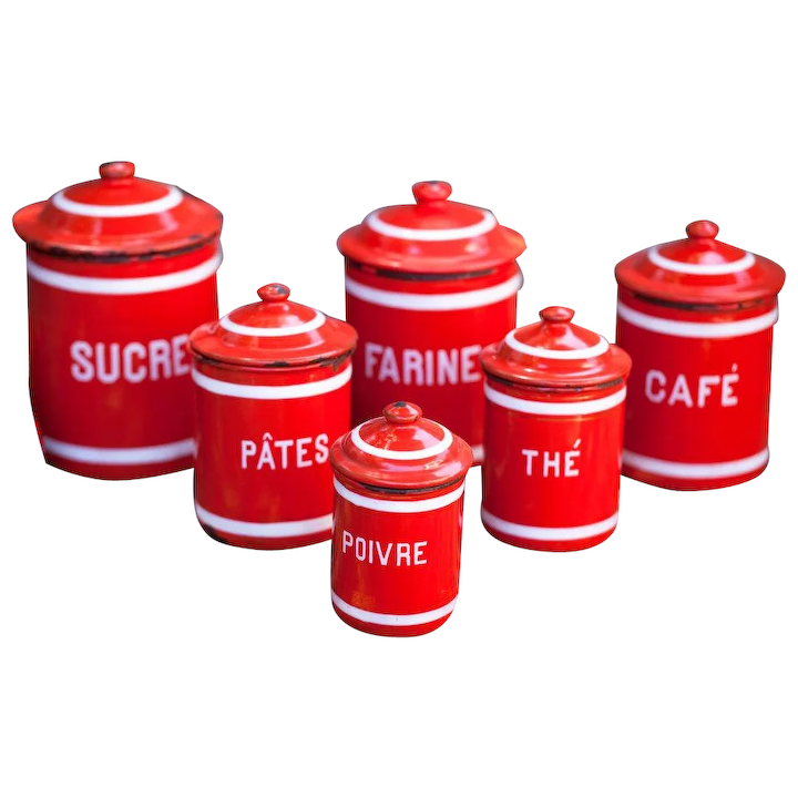 Complete Serie Of French Vintage Enamel Kitchen Nesting Canisters Set 1930s Striking Red