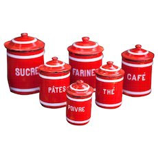Complete Serie of French Vintage Enamel Kitchen Nesting Canisters Set - 1930s - Striking Red