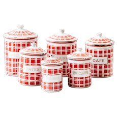 Complete Set of French Vintage Enamel Kitchen Nesting Canisters - Art Deco 1920s