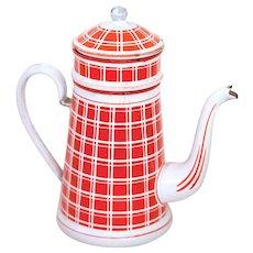 Vintage French Enamel Coffee Pot - Art Deco 1920s - BB Frères