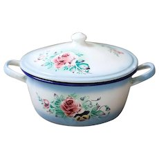 Vintage Large French Tureen - Shabby Chic Pink Roses 1920s