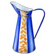 Vintage French Large Enamel Water Jug - Geometrical Design Blue and Orange