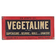 1900s Rare French Advertising Embossed Tin Plate - Vegetaline / Margarine