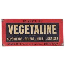 1900s Rare French Advertising Embossed Tin Plate - Vegetaline / Margarine