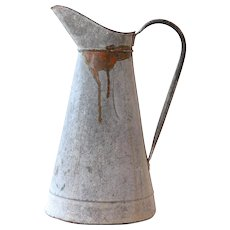Vintage French Large Water Pitcher / Jug / Can - Galvanized Steel / Zinc