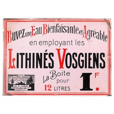 1930 French Advertising Sign - Lithines Vosgiens - Shabby Chic Decor