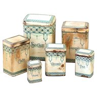 1920s French Complete Set of Tin Kitchen Nesting Canisters - Art Deco Pattern - Shabby Chic